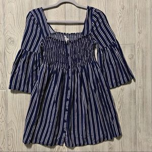 Jack By BB Dakota Navy Striped Boho Rayon Top